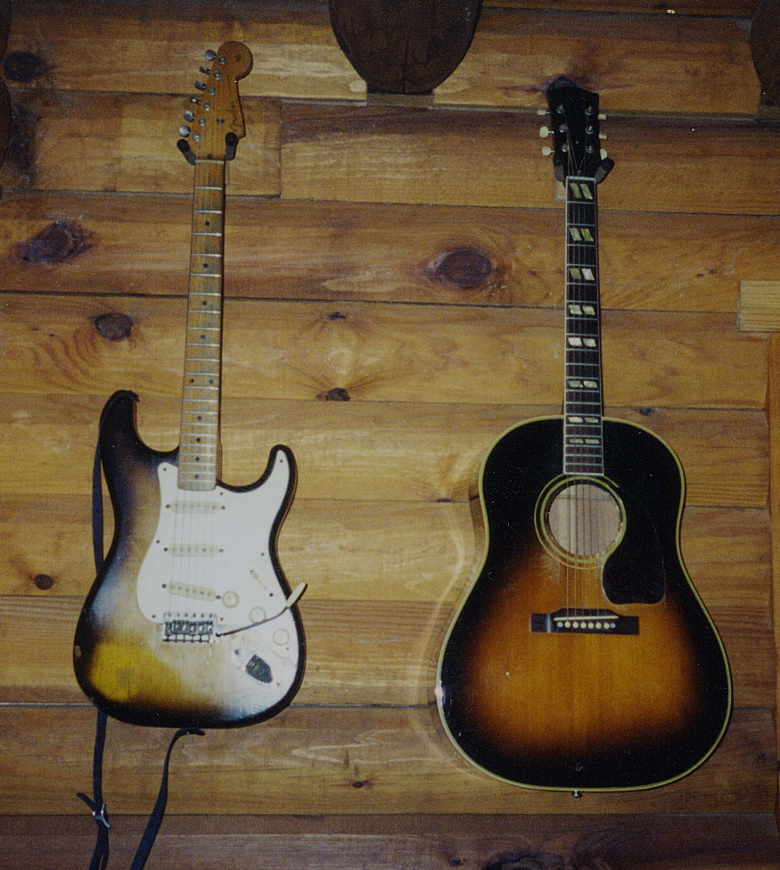1957_Strat_and_1949_Gibson.JPG -  Mason's 1957 Fender Stratocaster and 1949 Gibson SJ  1995  Photo by: Mason Ruffner