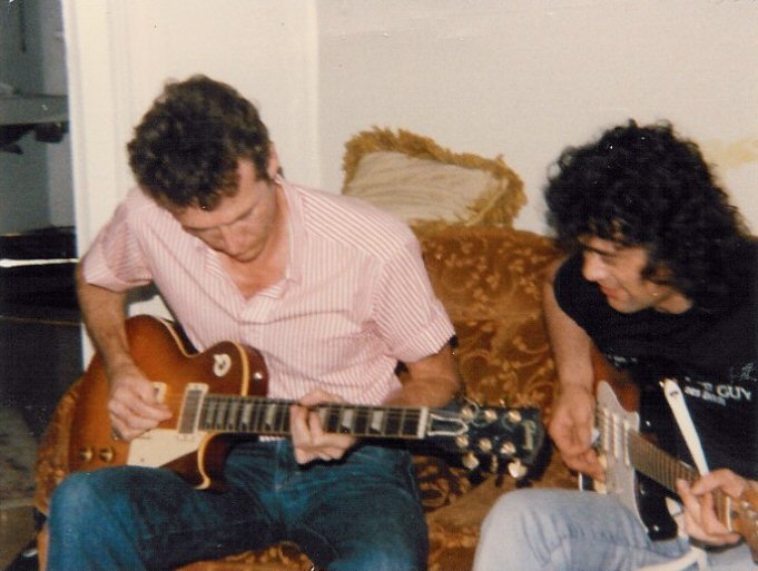 mason_page.jpg -  Mason playing Jimmy Page's Les Paul Guitar and Jimmy playing Mason's Stratocaster  New Orleans, 1985  Photo by: Patricia Page
